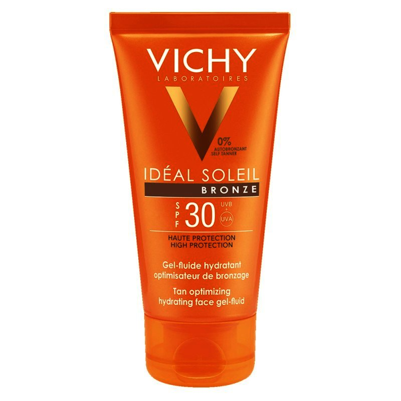 Gel De Faţă Vichy Ideal Soleil Gel-fluid Hidratant Intensificator De Bronz Spf 30, 50ml