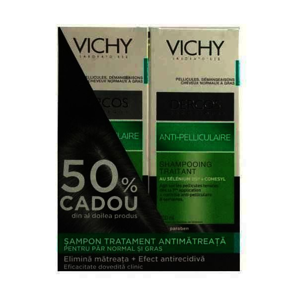 Vichy Bipack Dercos Sampon Antimatreata Par Normal-Gras x 200 ml