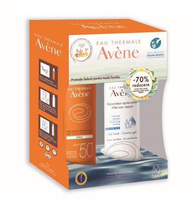 Avene Spray SPF50+ x 200ml + Avene Crema Reparatoare dupa Plaja x 200 ml (70% Reducere)