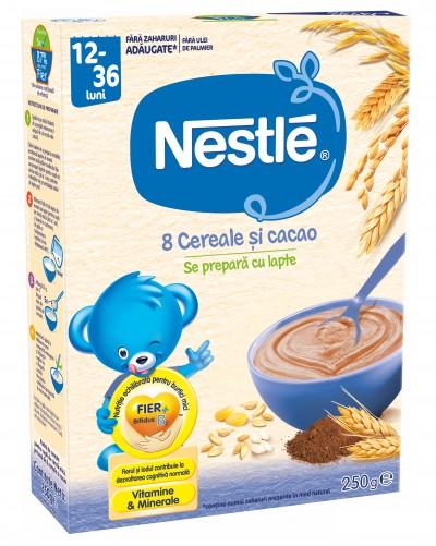 Cereale Nestlé® 8 Cereale si cacao, 250g, de la 12 luni