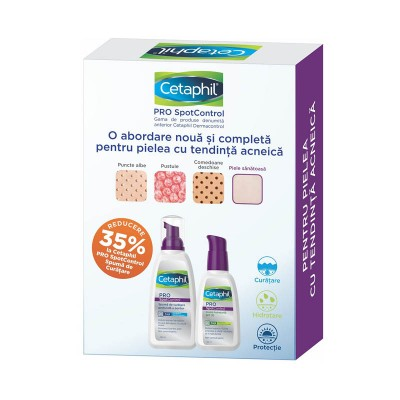 Cetaphil Pro Spot Control Pachet Crema Hidratanta SPF 30 x 120ml + Spuma Curatare x 235ml (1+1x30% Oferta)