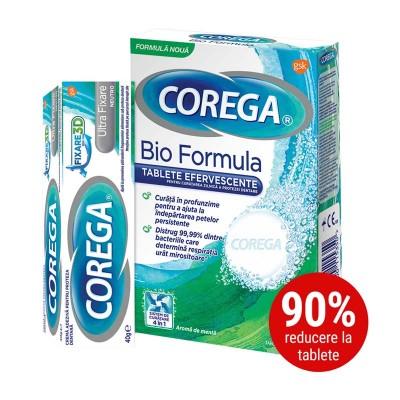 Corega Neutro Crema Adeziva pentru Proteza Dentara x 40g + Corega Tabs Bioformula - tablete efervescente x 30 (1+90% Oferta)