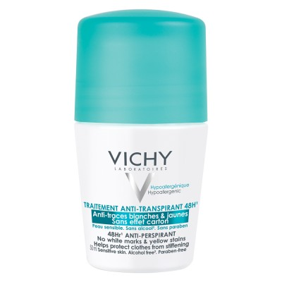 Vichy Deo Deodorant Roll On Tratament Antiperspirant Anti Urme Albe Sau Galbene Eficacitate 48h 50ml