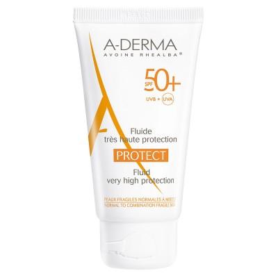 A-DERMA Protect Fluid protectie solara pentru piele fragila, normala spre mixta SPF50+, 40ml