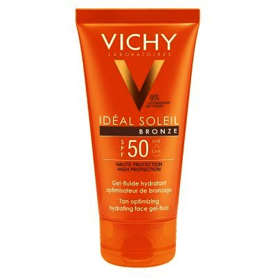 Gel De Faţă Vichy Ideal Soleil Gel-fluid Hidratant Intensificator De Bronz Spf 50, 50ml
