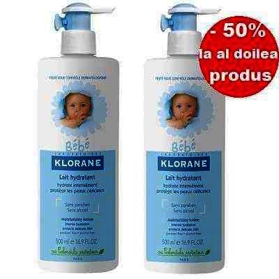 Klorane Bebe Lapte Hidratant Masaj DuoPack 2 x 500 ml (1+1x50% Oferta)