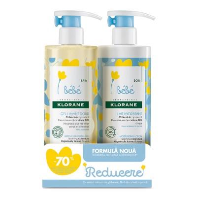 Klorane Bebe Lapte Hidratant x 500ml + Klorane Bebe Gel Spumant 500ml (Pachet Promo 1+1*70% discount)