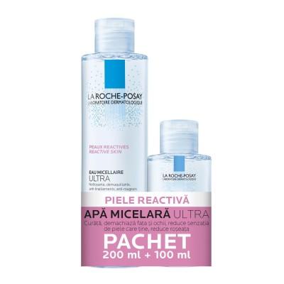 La Roche Posay Apa Micelara Ultra Piele Reactiva x 200ml + Apa Micelara x 100 ml(Cadou)