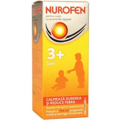 Nurofen Copii 100 mg/5ml Capsuni +3 luni -susp x 100 ml