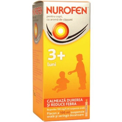 Nurofen Copii 100mg/5ml Capsuni -susp x 100ml