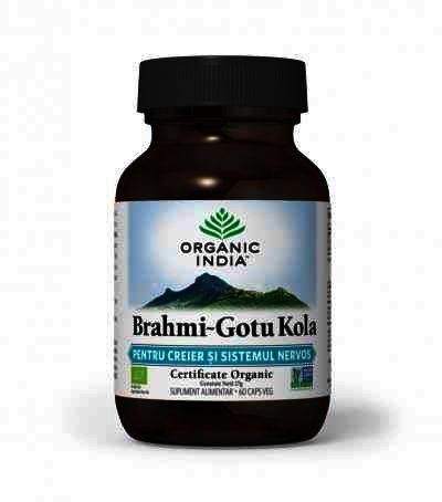 Organic India Brahmi~Gotu Kola, Pentru Creier & Sistemul Nervos si Deficit de Atentie, 60 cps