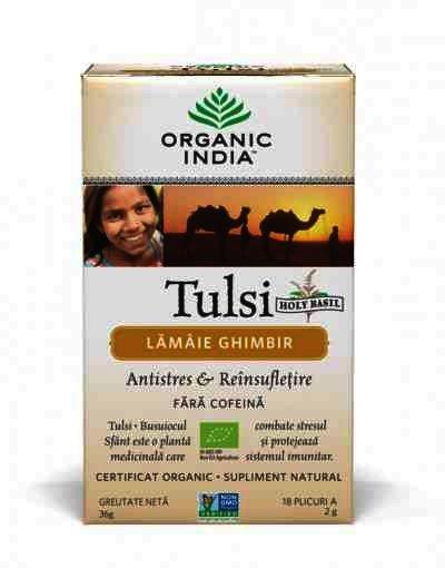 Organic India Ceai Tulsi (Busuioc Sfant) cu Lamaie si Ghimbir, Antistres Natural & Reinsufletire, 18 plicuri, infuzie