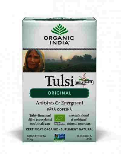 Organic India Ceai Tulsi (Busuioc Sfant) Original, Antistres Natural & Energizant, 18 plicuri, infuzie