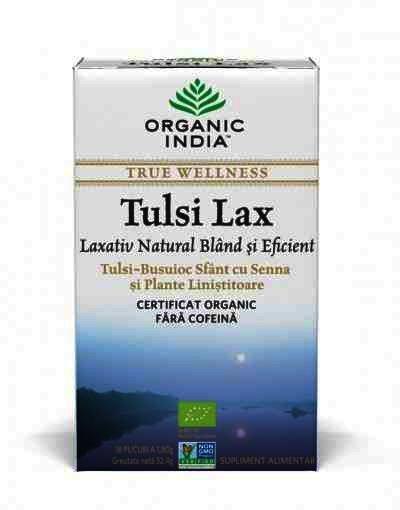 Organic India Ceai Tulsi Lax (Busuioc Sfant), Laxativ Natural Bland si Eficient, 18 plicuri infuzie