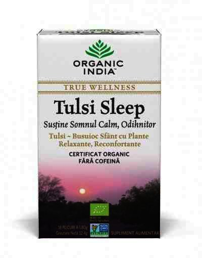 Organic India Ceai Tulsi Sleep cu Plante Relaxante, Reconfortante, Somn Calm, Odihnitor, 18 plicuri, infuzie