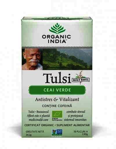Organic India Ceai Verde Tulsi (Busuioc Sfant), Antistres Natural & Vitalizant, 18 plicuri, infuzie