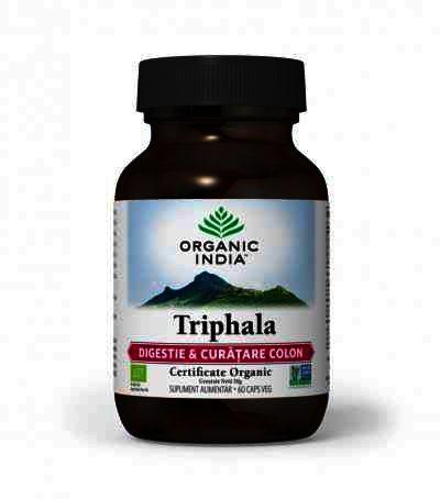 Organic India Triphala, Digestie & Curatare Colon, 60 cps