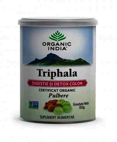 Organic India Triphala Digestie & Detoxifiere Colon, 100g