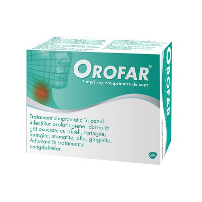 Orofar 1mg/1mg - comprimate de supt x 24
