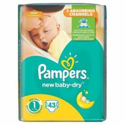 Pampers nr 1 New Baby Dry 2-5 kg x 43