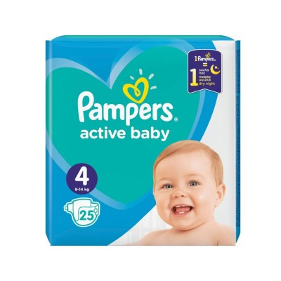 Pampers Nr. 4 Active Baby 9-14 kg Scutece x 25