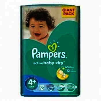 Pampers nr 4+ Active Baby 9-16 kg x 74