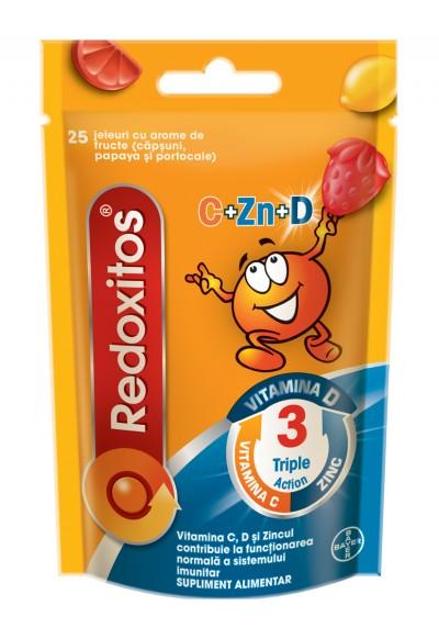 Redoxitos Triple Action, Vitamina C, D si Zinc, suport imunitar, 25 de jeleuri gumate
