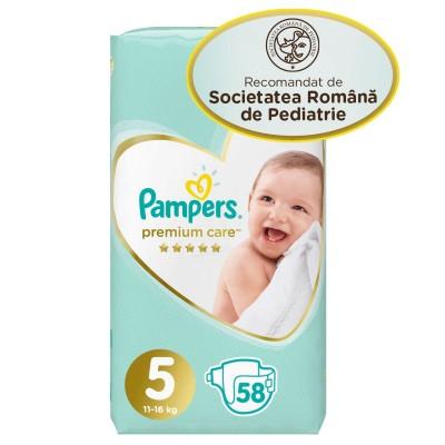 Scutece Pampers premium care nr. 5 11-16 kg , 58 buc