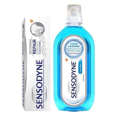 Sensodyne Pasta Repair&Protect Whitening x 75ml + Apa de Gura Coolmint x 500ml (Gratis)
