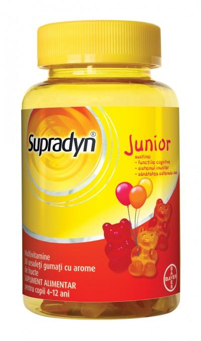 Supradyn Junior Multivitamine, Vitamina C, B3, B6, B12 – 30 ursuleti gumati