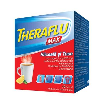 Theraflu Max Raceala si Tuse 1000 mg/12.2 mg/200 mg - plicuri x 10