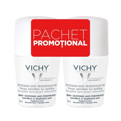 Vichy Bipack Roll-on Antiperspirant 48H fara Parfum Bipack (2 x 50 ml)