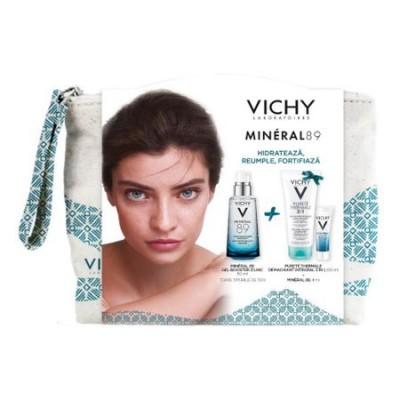 Vichy Mineral 89 Gel x 50ml+Purete Thermale Demachiant 3in1 x 100ml+Mineral 89x4ml+Borseta (Cadou)