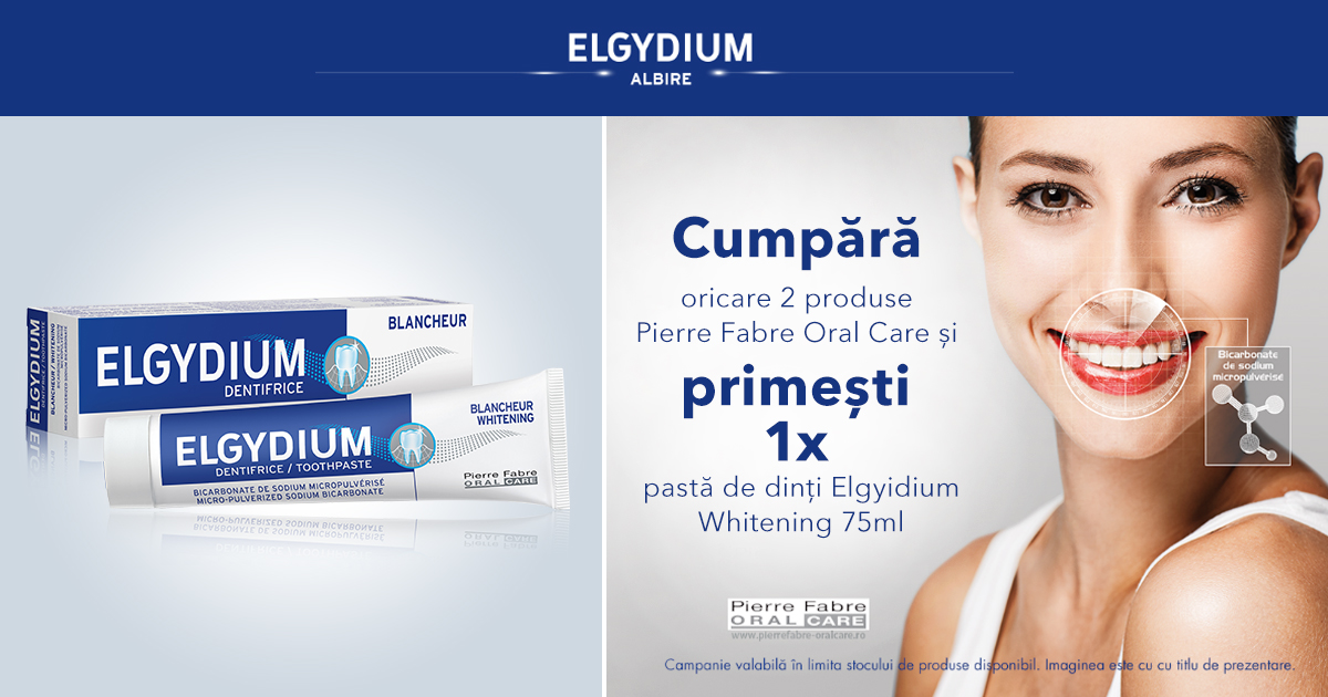 1 pasta de dinti Elgydium Whitening cadou la oricare 2 produse Pierre Fabre Oral care achizitionate!