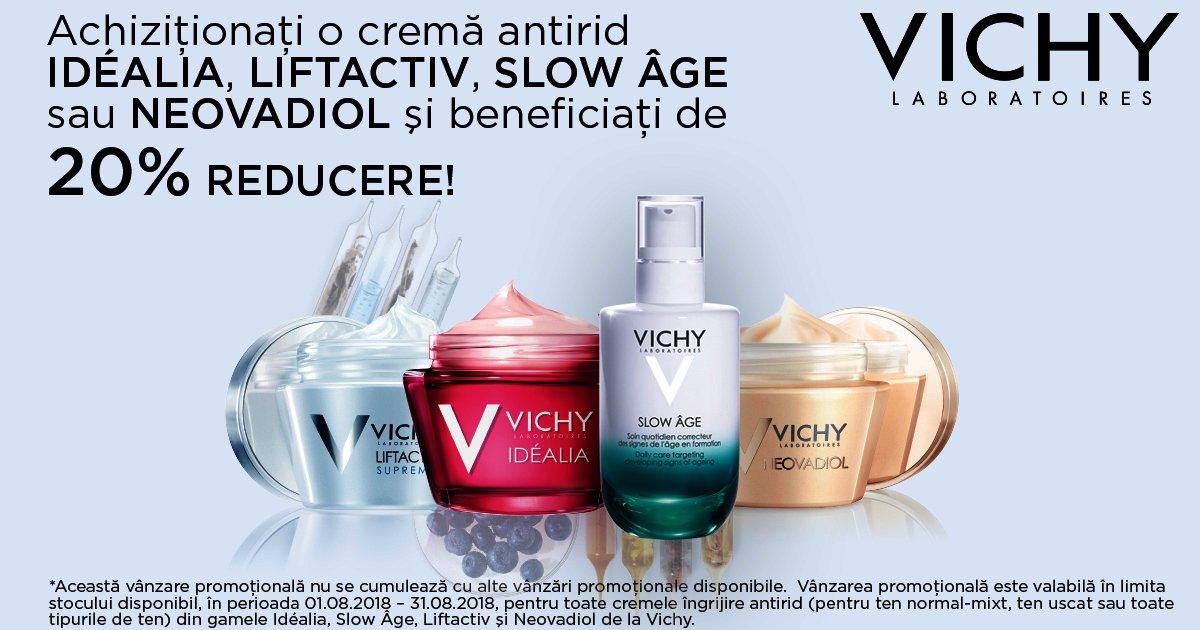 20% reducere la gamele Vichy - Idealia, Liftactiv, Slow Age și Neovadiol