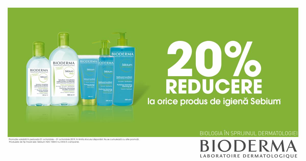 20% reducere la orice produs de igiena Bioderma SEBIUM