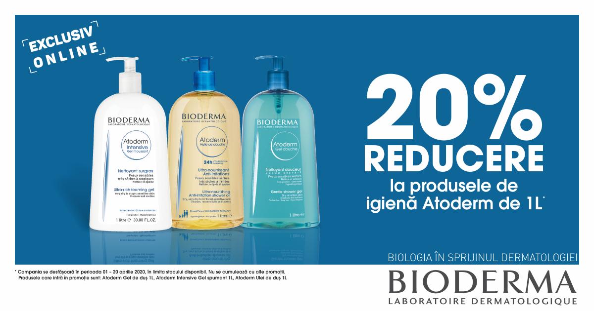 20% reducere la produsele de igiena Bioderma Atoderm de 1000 ml