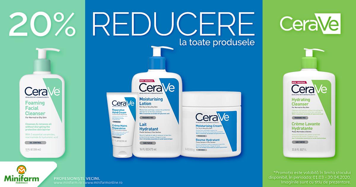 20% reducere la toate produsele CeraVe