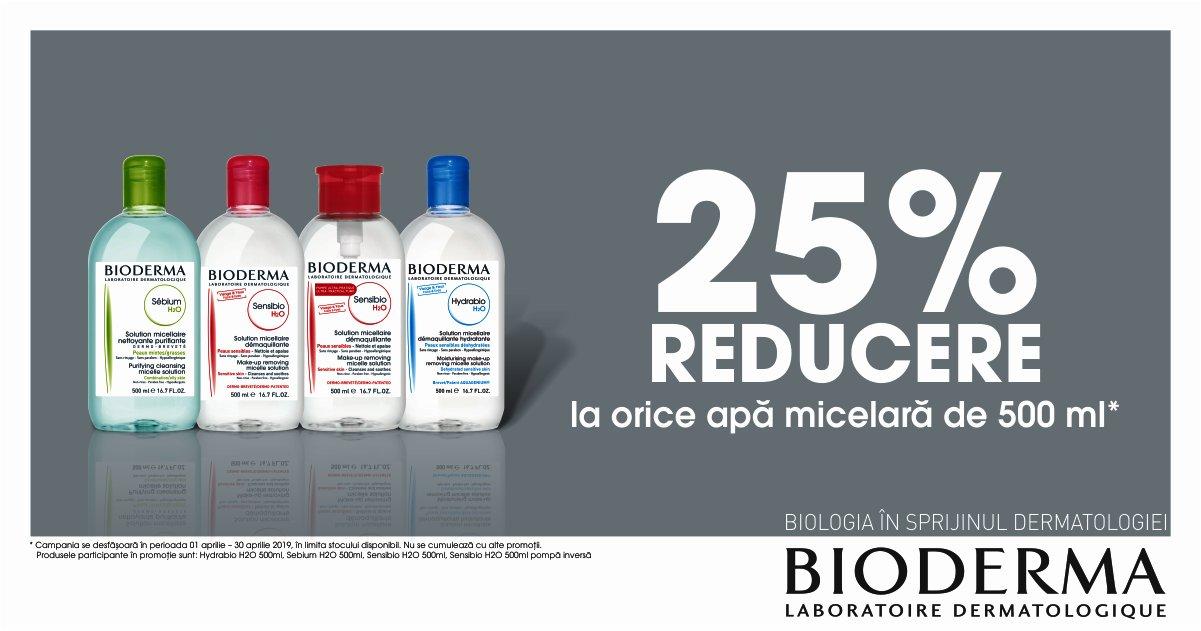 25% reducere la orice apa micelara Bioderma de 500ml