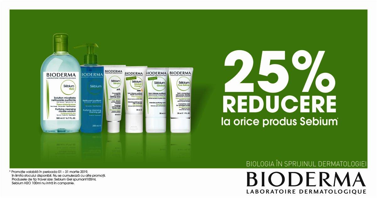 25% reducere la orice produs Bioderma Sebium!
