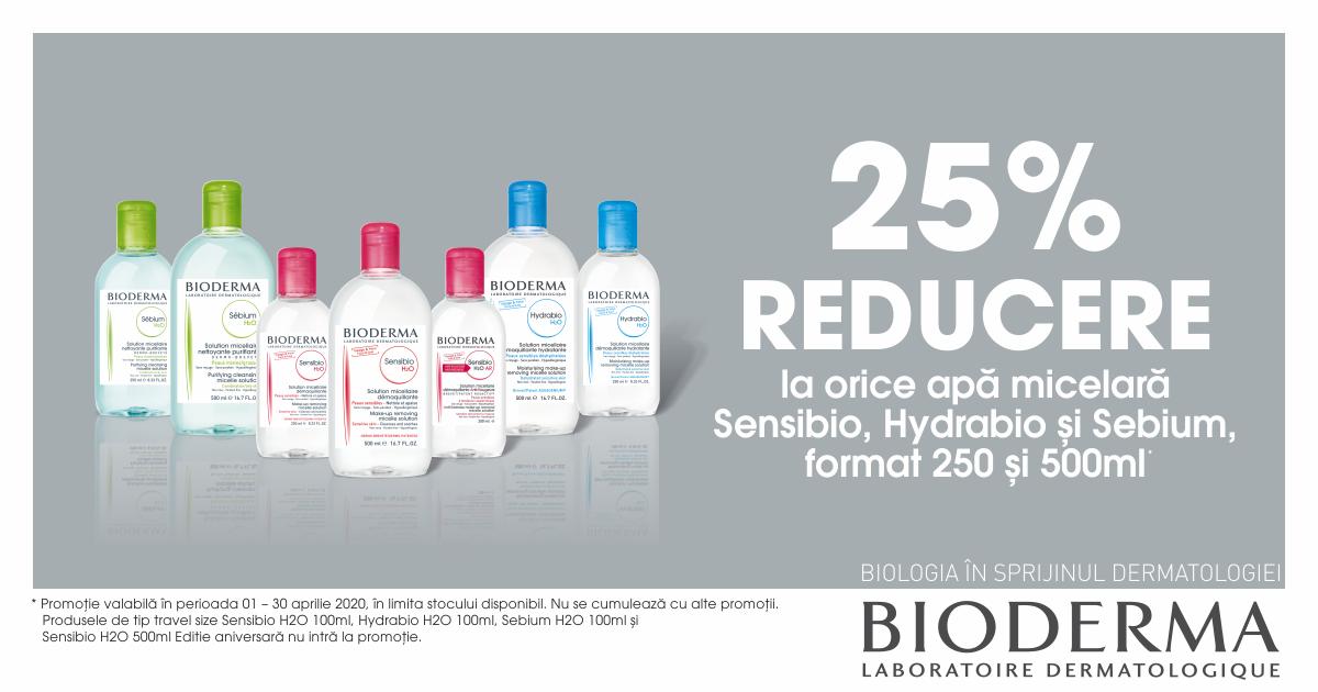 25% reducere pentru apele micelare Bioderma