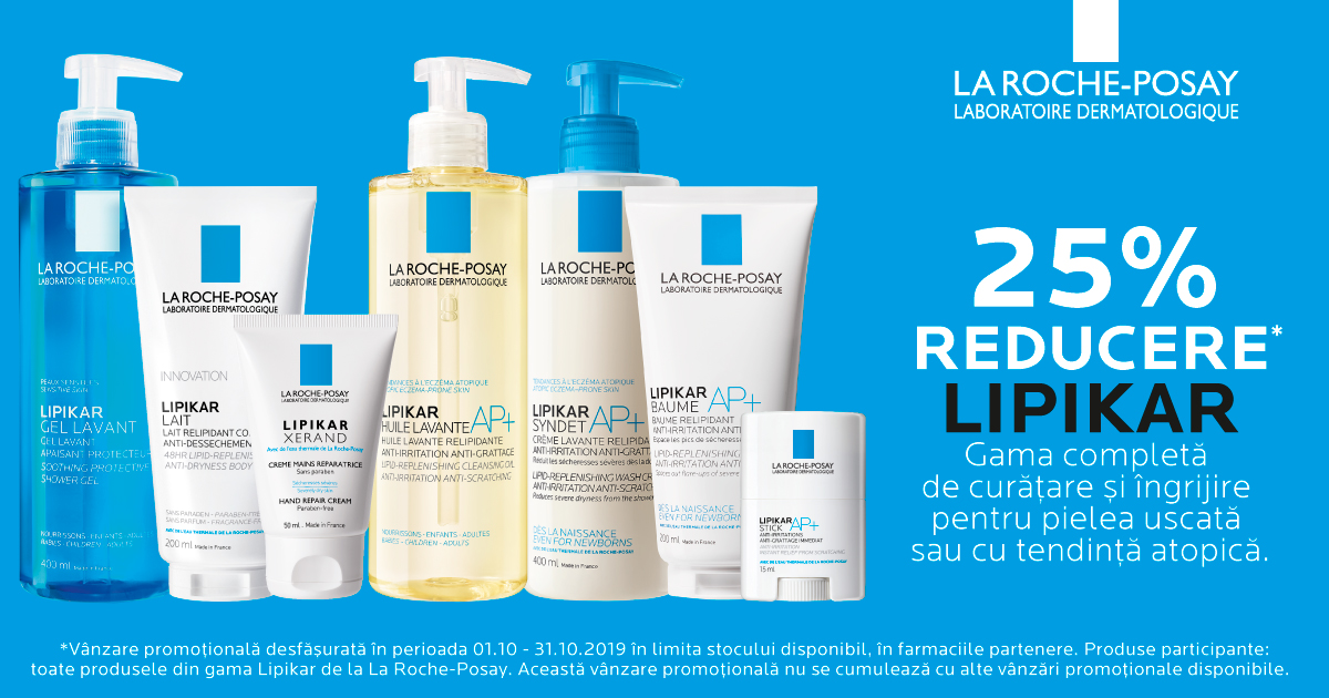 25% reducere pentru gama de curatare si ingrijire La Roche-Posay Lipikar