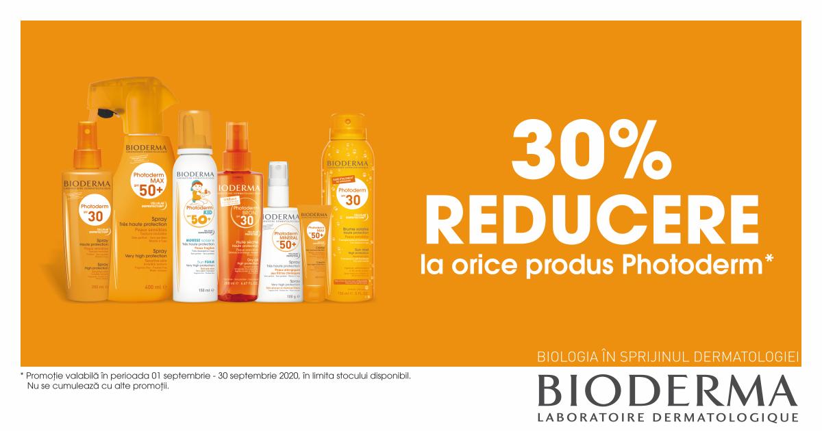 30% reducere la produsele pentru protectie solara Bioderma Photoderm