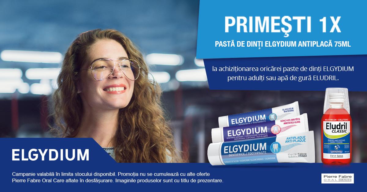 Cumpara o pasta de dinti Elgydium pentru adulti sau o apa de gura Eludril - primesti cadou Pastă de dinți antiplacă, Elgydium, 75 ml