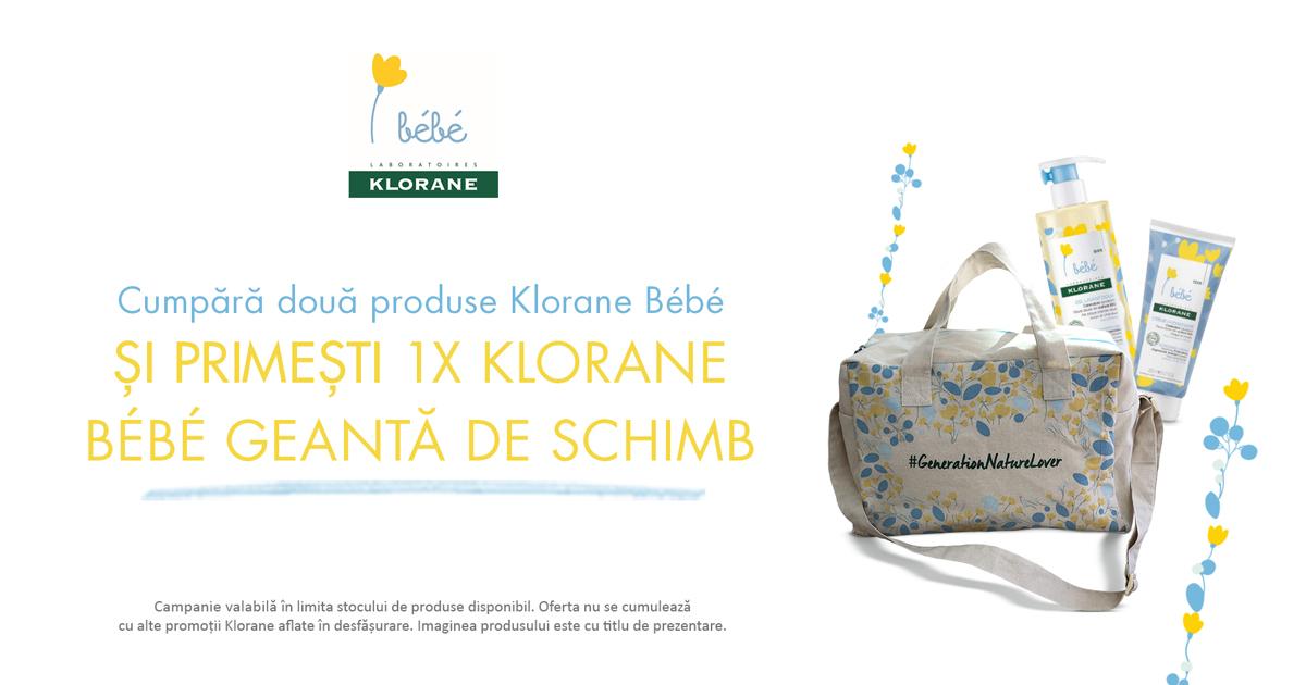 Cumpara oricare doua produse Klorane Bebe si primesti CADOU o o geanta de schimb Klorane Bebe