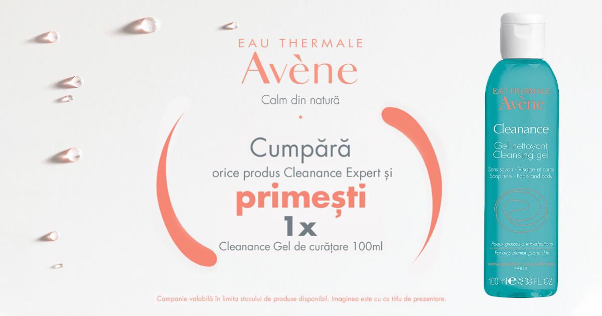 Cumpara oricare produs Avene Cleanance Expert si primesti cadou un Gel de curatare Avene Cleanance de 100 ml