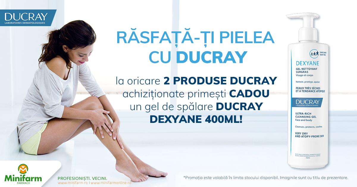 La oricare 2 produse Ducray primesti CADOU un gel de spalare Ducray Dexyane de 400 ml