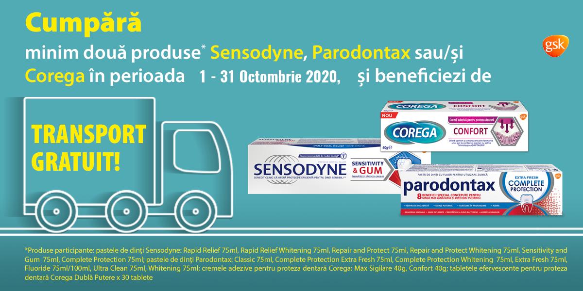 Minim doua produse Sensodyne, Parodontax si / sau Corega iti aduc transport gratuit!