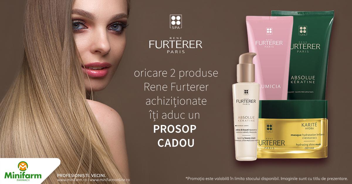 Oricare 2 produse Rene Furterer iti aduc CADOU un prosop Rene Furterer