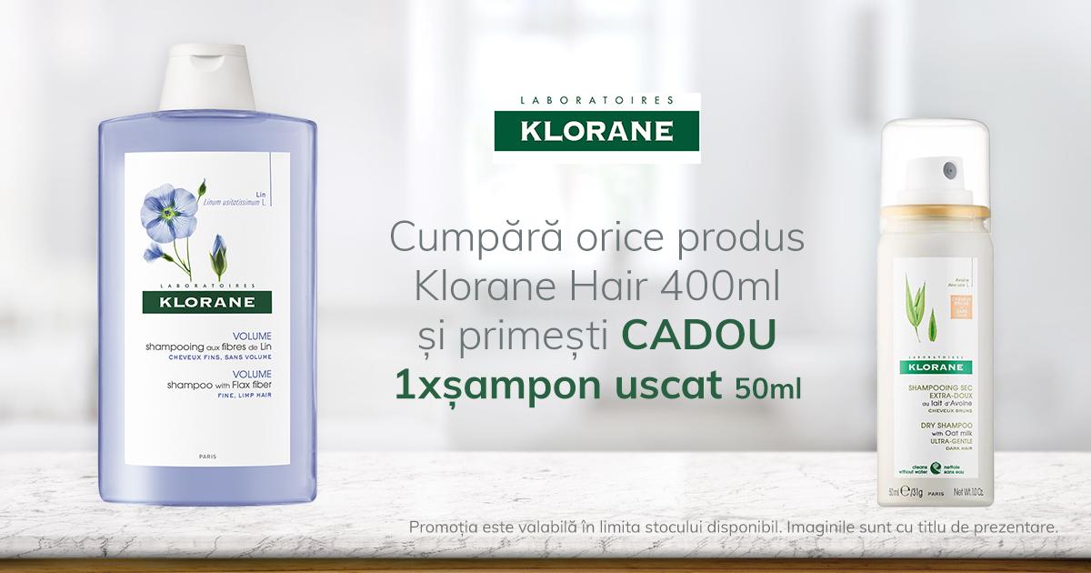 Oricare produs Klorane Hair de 400 ml iti aduce cadou un sampon uscat Klorane cu lapte de Ovaz
